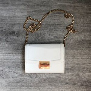 White Paten Leather Clutch Purse with Gold Chain